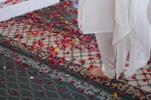 Rose petal path to the Guru