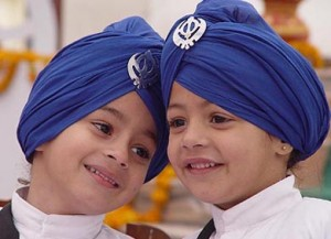 CHILDREN WEARING THE TRADITIONAL SIKH DRESS ON THE EVE OF THE 337TH PARKASH UTSAV OF GURU GOBIND SINGH IN AMBALA ON SUNDAY. PHOTO NEERAJ CHOPRA