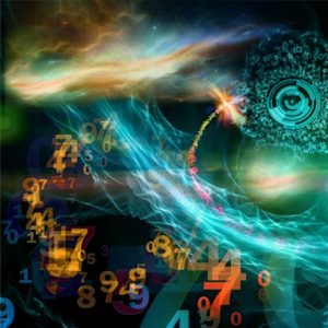 Interplay of numbers and attractive abstract forms on the subject of mathematics, science, computing, modern technologies and numerology
